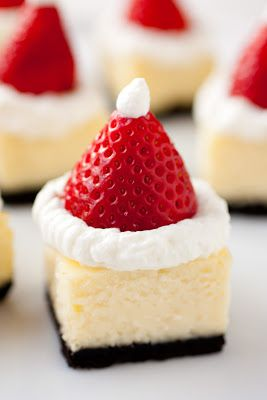 Santa Hat Cheesecake Bites - Cooking Classy-also good with sliced strawberries and chocolate drizzled over