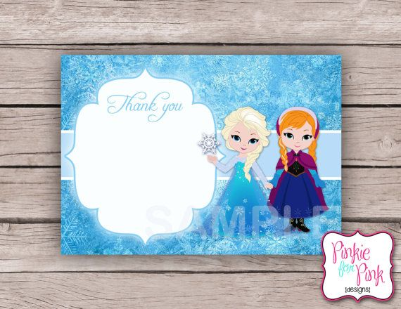 INSTANT Download Disney Frozen Thank you card by PinkieForPink