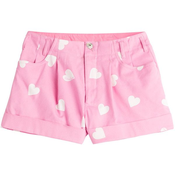 Moschino Printed Cotton Blend Shorts ($215) ❤ liked on Polyvore featuring shorts, bottoms, rose, pastel shorts, moschino, zipper shorts, slim shorts and slim fit shorts