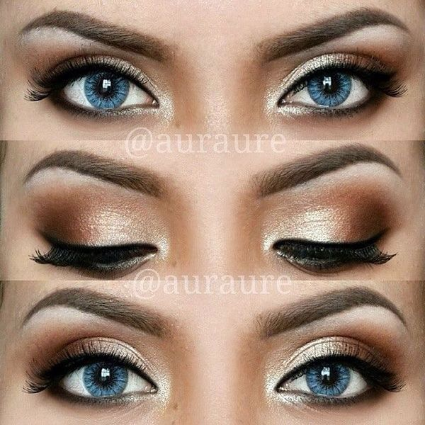 12 Easy Ideas For Prom Makeup For Blue Eyes | do this with gray/silver instead of gold