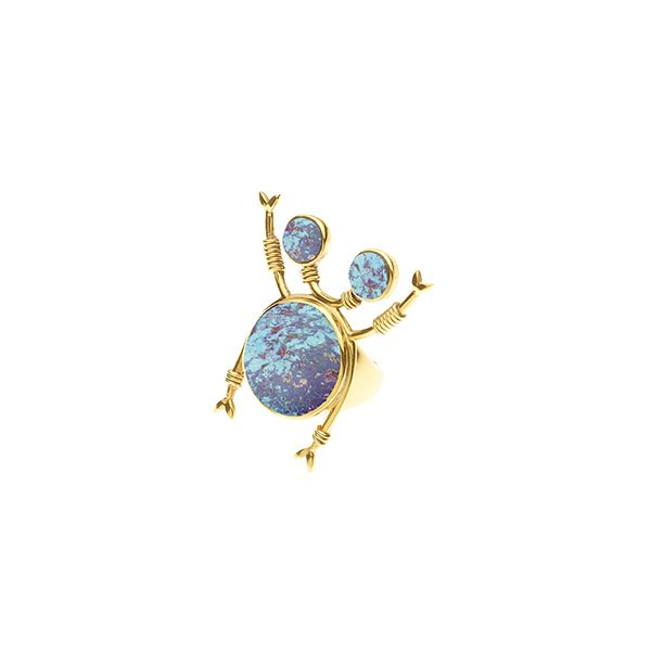 PUSHMATAAHA // Beetle Ring / Blue Purple Turquoise with Gold Plate