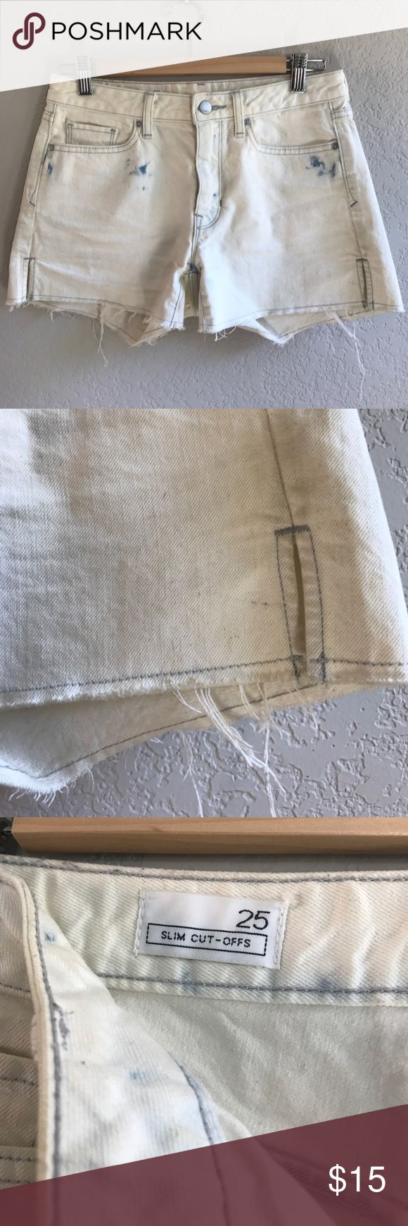 """Gap Denim Slim Cutoff shorts in Bleach Wash Gap Denim Slim Cutoff shorts in aged white bleach wash. Meant to look old and bleached. Good condition but little marks here and there, could be bleached easily. Side slits on legs for more room, mid rise and 3"""" inseam. GAP Shorts Jean Shorts"""