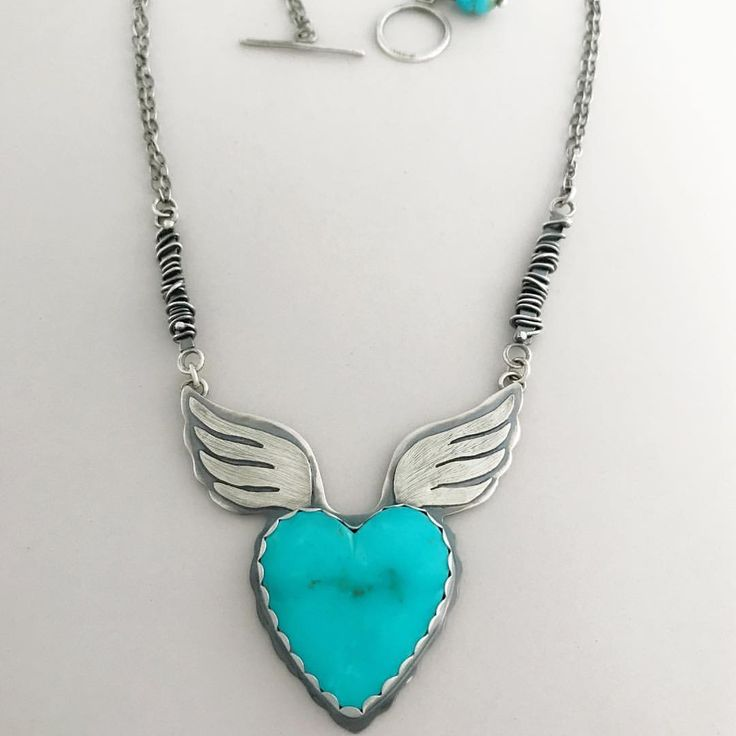 Arizona Kingman turquoise heart necklace. #turquoise #handmade #sterlingsilver