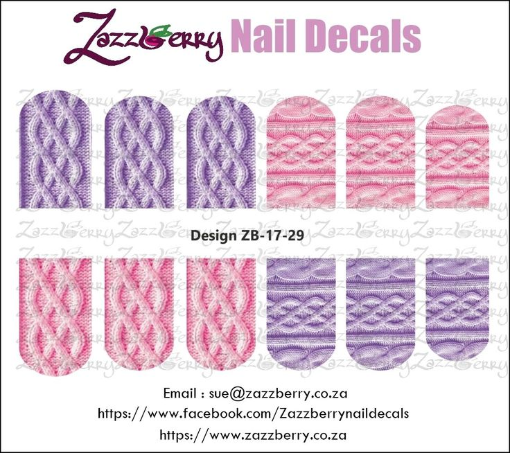 Pink and Purple Knits Nail Decals, R45.00