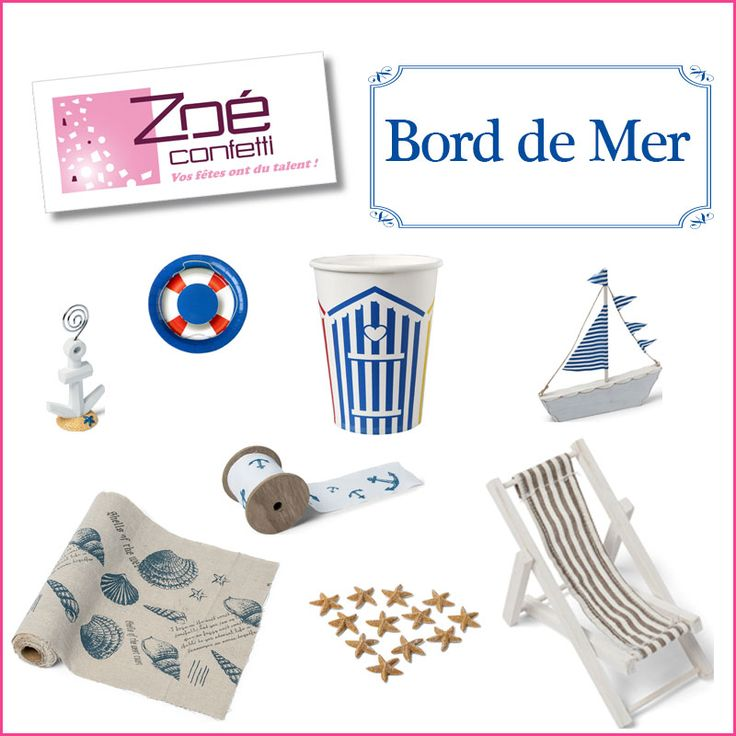 zo confetti articles d co bord de mer chemin de table marque place ancre bou e ruban. Black Bedroom Furniture Sets. Home Design Ideas