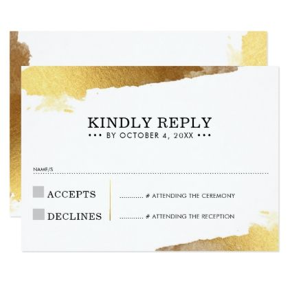 RSVP REPLY CARD modern luxe gold gilded edges - romantic wedding gifts wedding anniversary marriage party