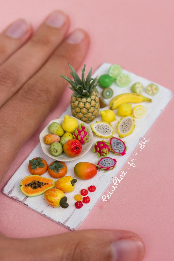 Miniature food art replica of exotic fruit. Polymer clay sculpture by Stephanie Kilgast