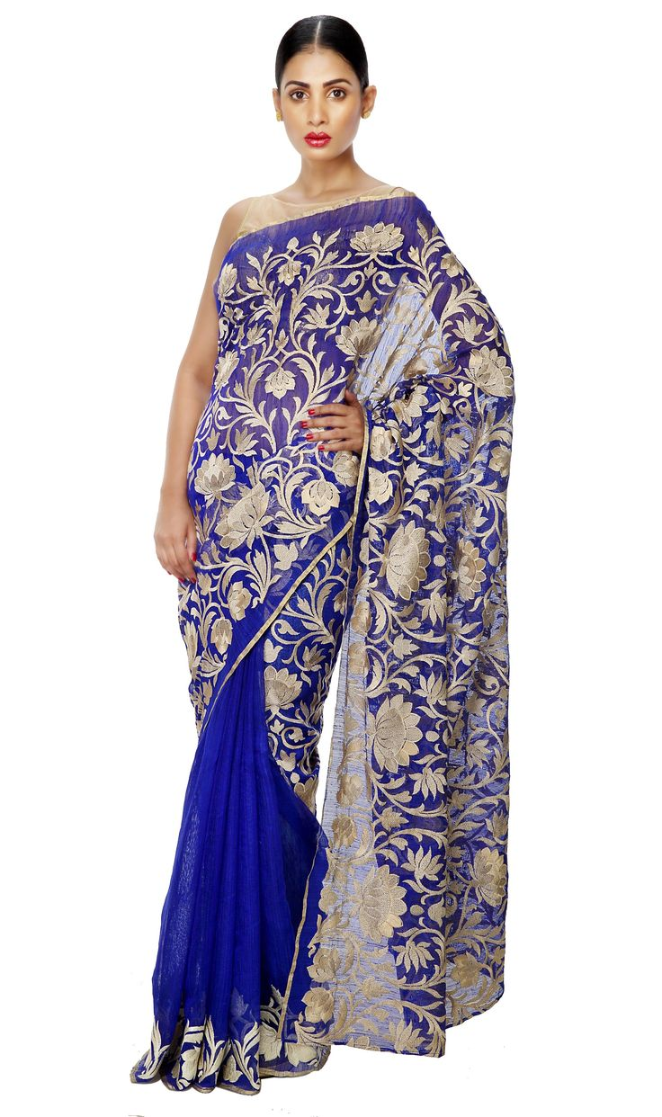 - SATURDAY STUNNER - Half n Half Matka Silk Blue Embroidered Pallu Saree.  Now on SALE at 15% OFF. Just one in stock. Shop Now   #ThreadTurner #DesignerSaree