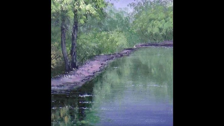 Зеленые деревья, кусты, отражения. Акрил. How to paint different greens,...
