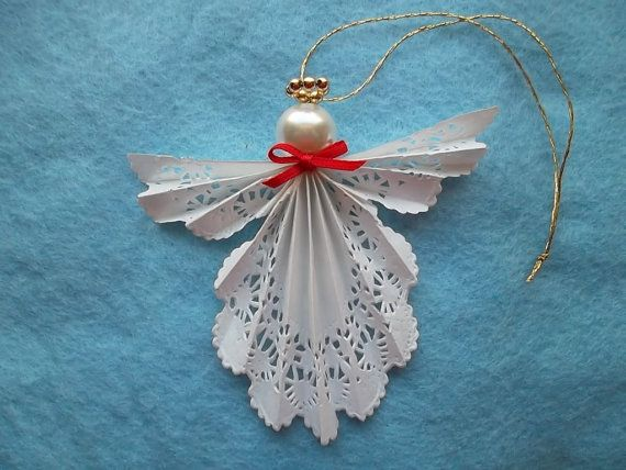 Christmas Craft Ideas With Paper Doilies : Paper doily angel ornament
