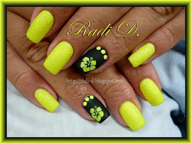 Neon yellow & black hibiscus nailart #Nailart #Yellow #Neon