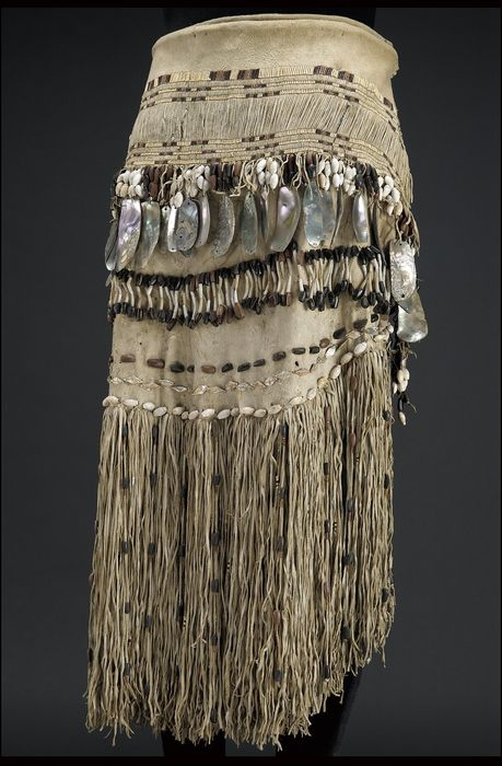 Woman's skirt, Hupa, circa 1880, Hide, abalone/haliotis shell, shell/shells, pine nut/nuts, bear grass, maidenhair fern stem. Sewn, strung, wrapped.