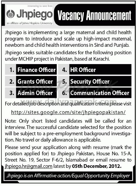 Jobs In Jhpiego Karachi Pakistan    wwwguruindin - affirmative action officer sample resume