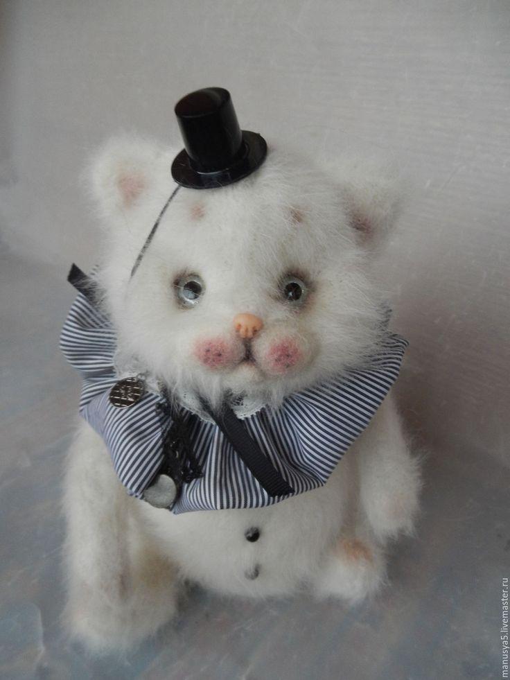 """Купить Котёнок """"Монти"""" - белый, кот, котёнок, котёнок игрушка, кошка, ангора, ангорский котёнок"""