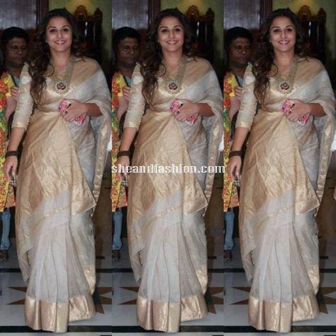 b78b4bb0541ad4 Vidhya Balan in white cotton silk saree for HAK promotions | Saree ...