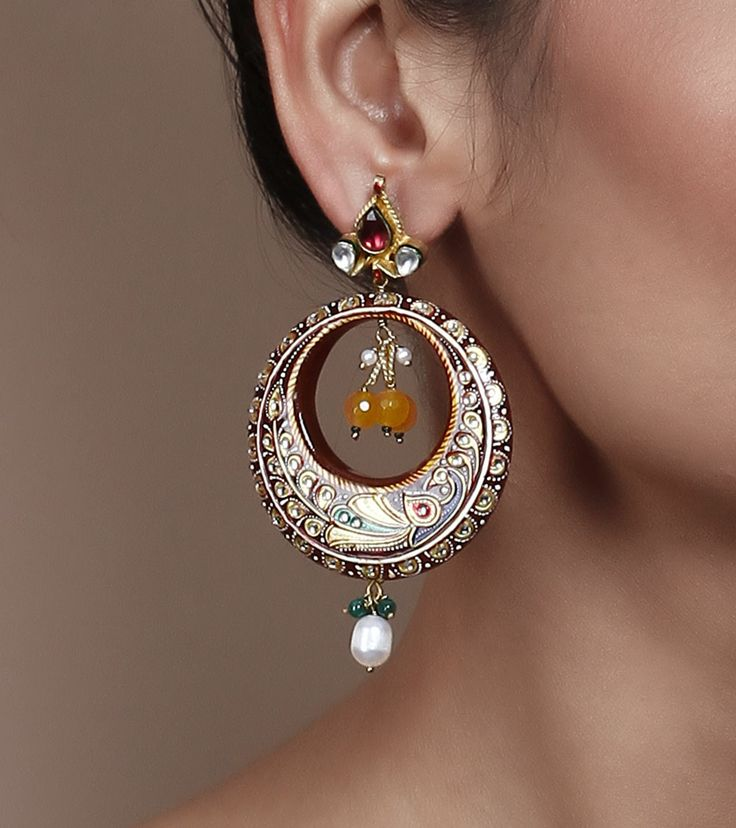 Stone & Kundan Embellished Jhumki Earrings by Indiatrend Shop now on www.indianroots.com