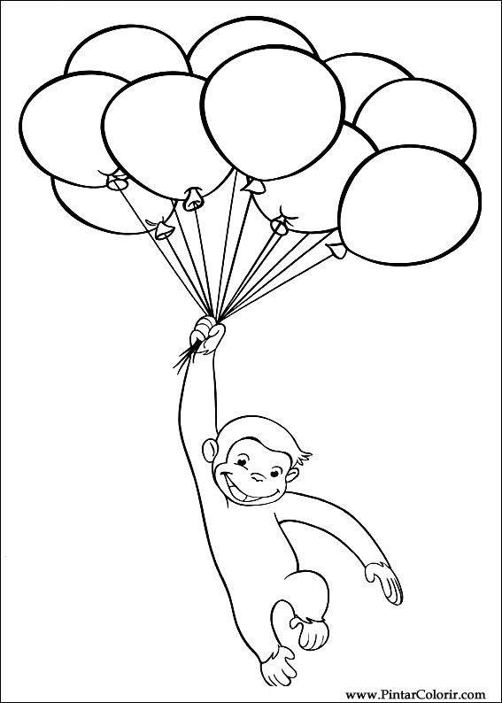 Dibujos Para Pintar Y Color De Curious George Pagina 5 Curious George Coloring Pages Birthday Coloring Pages Curious George Birthday