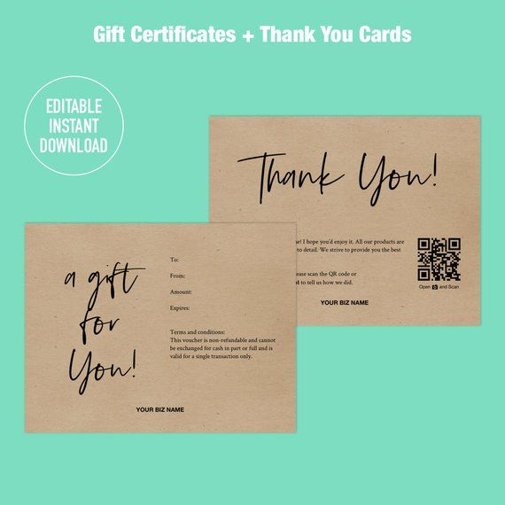 Gift Certificate Templates Printable Gift Certificate Editable Template Instant Download Gift Card Templates A Gift For You Nqr In 2021 Gift Card Design Gift Card Template Voucher Design