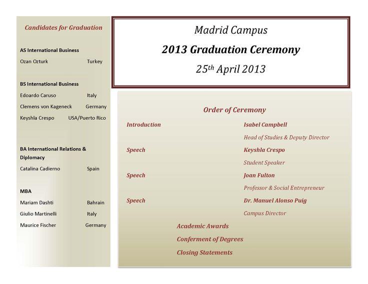 16 best graduation ideas images on Pinterest Tables, Celebration - graduation program