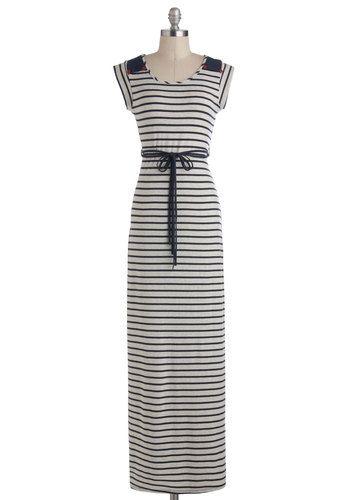 Longshore Drifter Dress - Blue, Grey, Stripes, Cutout, Belted, Casual, Nautical, Maxi, Jersey, Long, Cap Sleeves