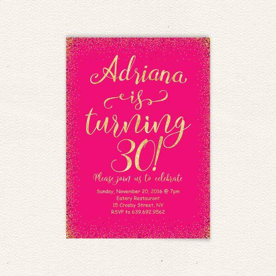 Pink glitter womens birthday invitation hot pink 30th
