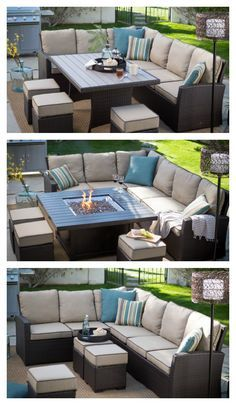 With the Monticello Collection on your porch, deck, or patio, the Great Outdoors becomes a little greater. This assortment of seating pieces is crafted with rust-resistant frames and plump pillows covered in durable, water- and fade-resistant fabric. At the center of it all? Well, that's your choice -- a traditional table and a glowing fire pit offer equally accommodating spots for lunch plates, evening cocktails, and any-time cozying.