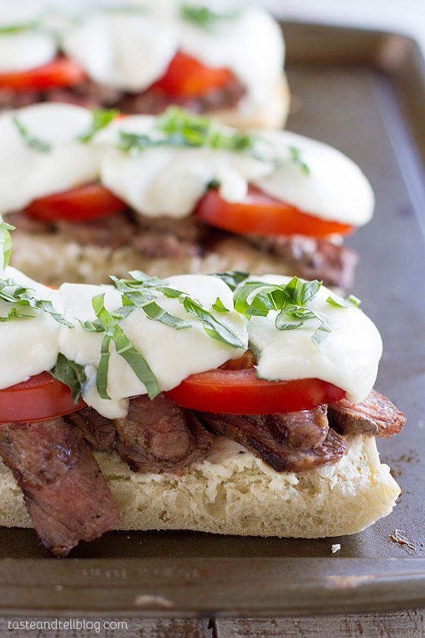 Delicious Summer Open Face Caprese Steak Sandwich | Taste and Tell