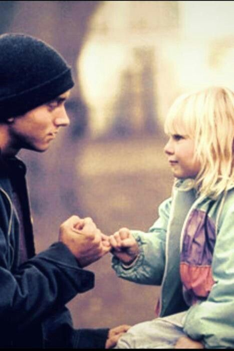 Eminem & his daughter Hailie. sometimes I wish I had a father like that look me in the eye and pinky swear  all my father ever did was fight with my mom before she died  and egnore every thing I said  but he was probably just trying to hide his pain. well that diden't work very well did it cause now your in jail. love your father hailie and know he loves you..