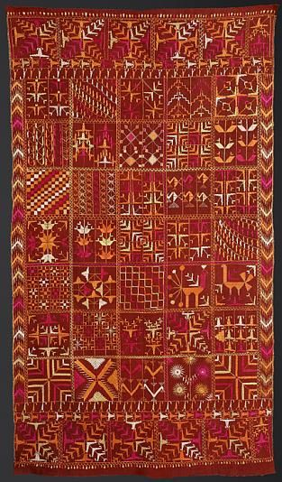 "Bawan Bagh (or Bawan Phulkari):""Bawan"" means "" fifty-two "" in Punjabi and refers to the mosaic of fifty-two different patterns which decorate this piece (the number of patterns can be at times more or less than 52)."