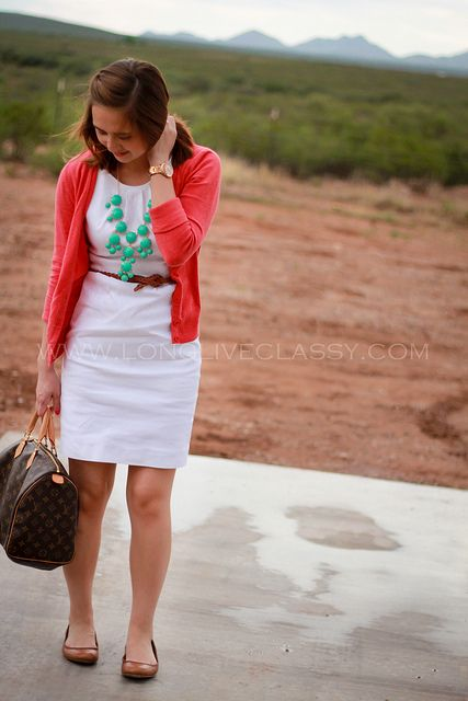 White sheath dress, coral cardigan, turquoise statement necklace Classy casual work outfit.