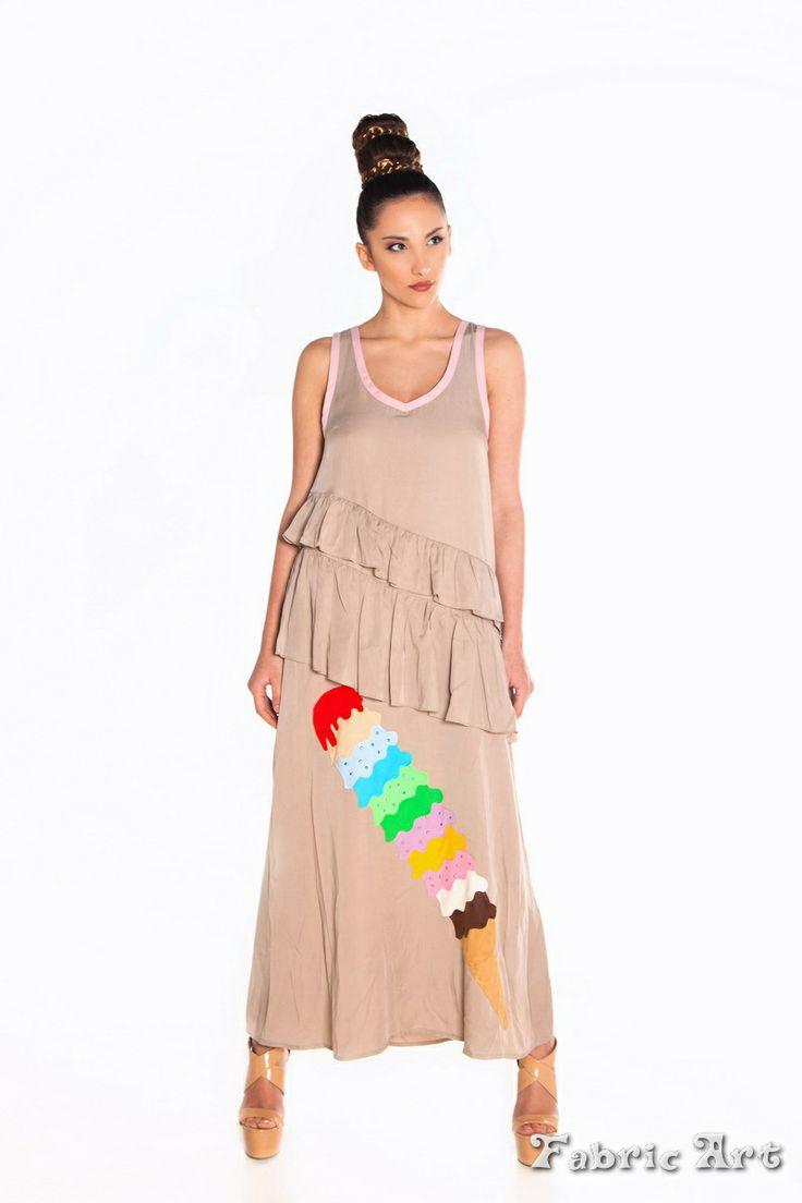 "Multi- layered maxi dress with handmade applique ""Ice Cream Tower"""