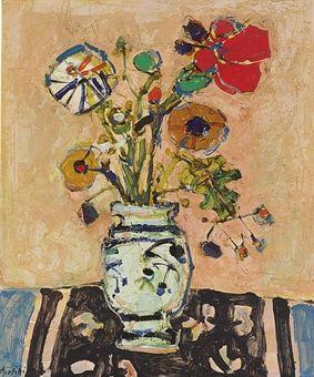 Paul Aizpiri (b. 1919) #flower #painting