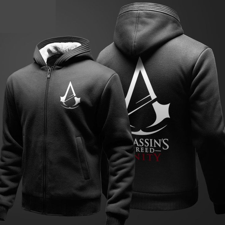 Unique Design Assassin's Creed Sweatshirts For Youth Fleece Thick Zip Up Hooded Hoodies Black Winter