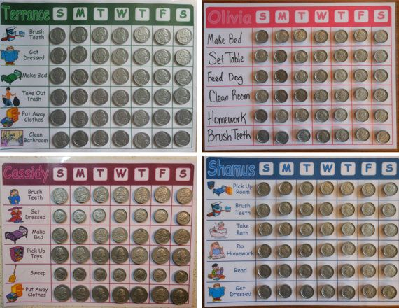 Childrens Allowance or Commission Chore Charts w/ Plastic Coins