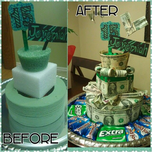 Money gift. Teenager gift ideas. Made this for my nephews 15th birthday. Total money I used was $100 and his favorite chocolate and gum. Foam and platter are from the dollar store and I pinned the money with silver thumb tacks. Money cake