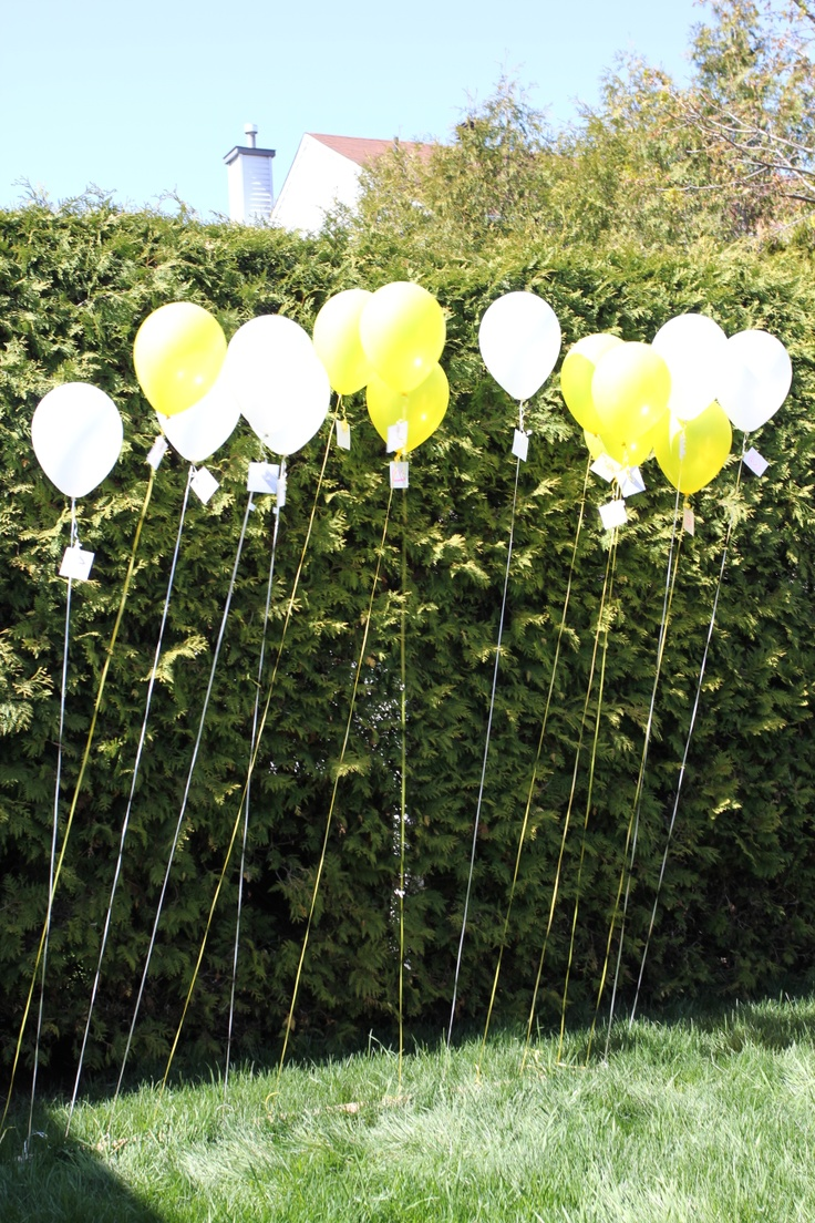 a fun relay race.  Each team had to spell out a word, in order, using letters that were attached to the balloons.  Once a player found the letter they needed, they would remove it from the balloon and return it to me (I would place it on the board for all to see).  Some of the balloons had blanks or silly pictures to make it a bit harder.  Once the relay was done, each of the kids got to choose a balloon to take home with them.