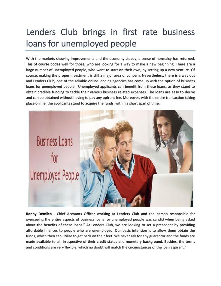 Business Loans for Unemployed People