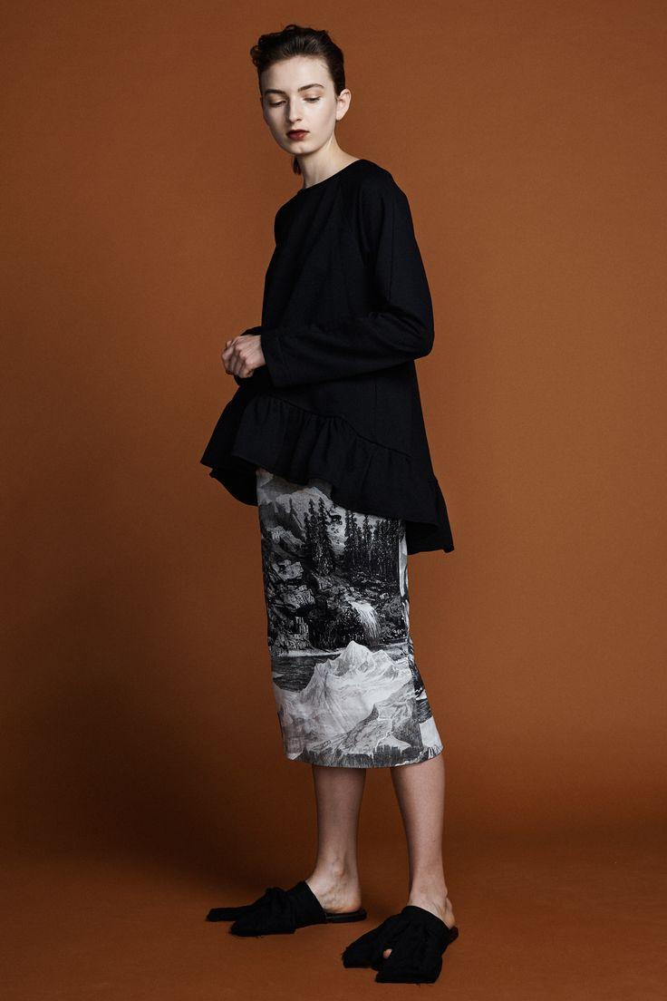 Pollyanna Sweater- Black Aster Pencil Skirt-  Etching Print
