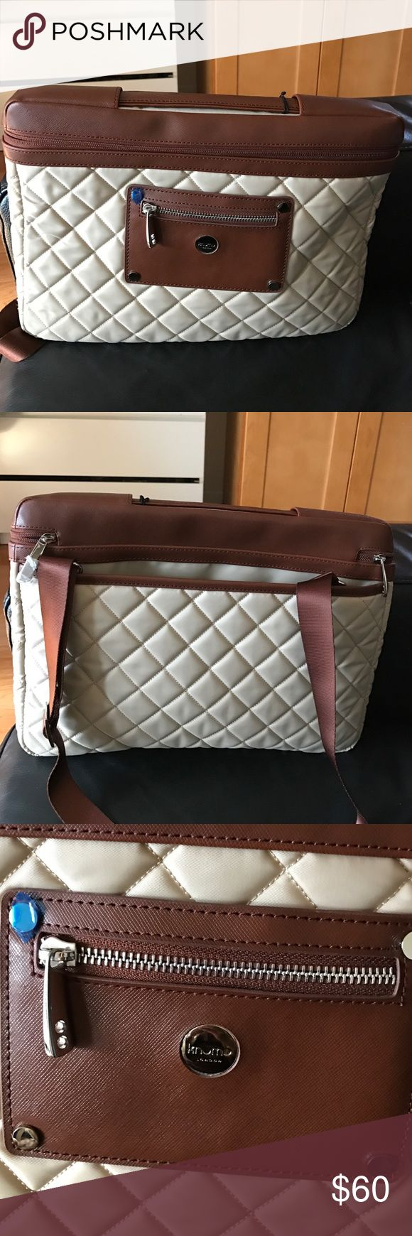 "BRand new Knomo LAPTOP BAG Brown beige laptop bag.. fits up to 13-14"" .. PU and Nylon material knomo LONDON Bags Laptop Bags"