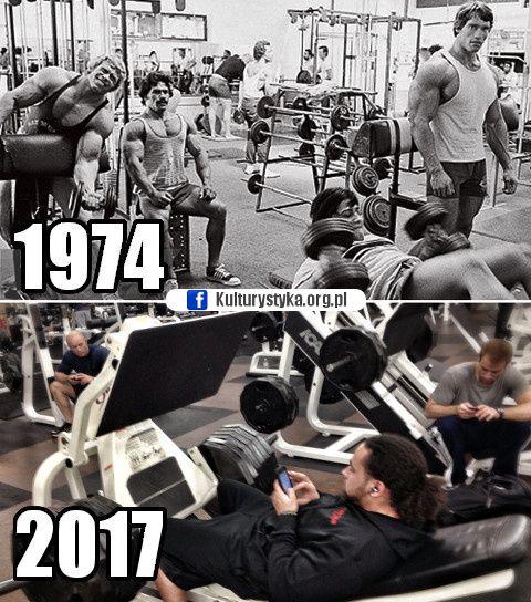Kulturystyka kiedyś i dzisiaj. #memy #smieszne #fitness #fit #motywacja #treningowa #kulturystyka #gym #arnold #meme #sport #silownia #telefon #miesnie #muscle #instafit
