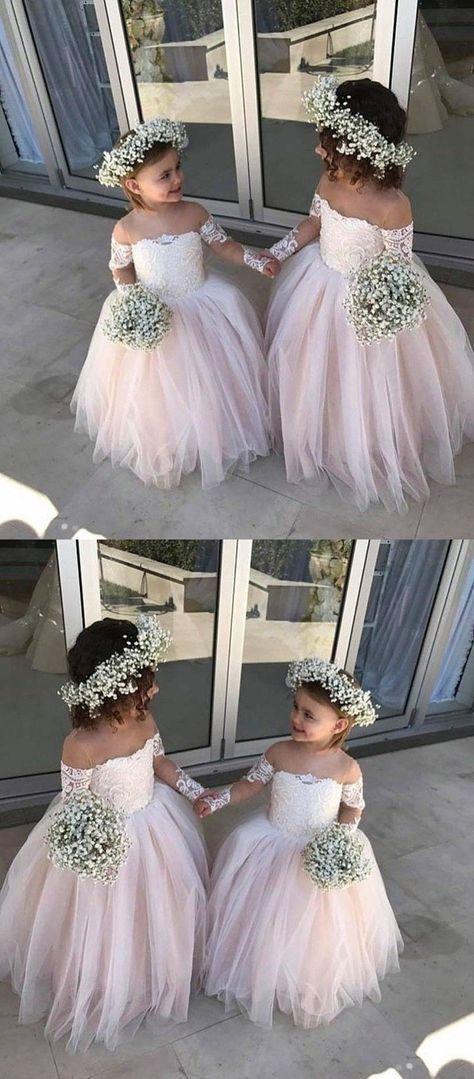 cbefa07d18 2019 的 Pink Off-the-Shoulder Lace Flower Girl Dresses