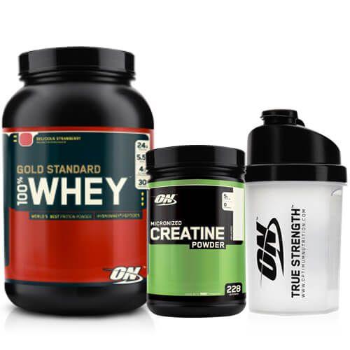 Optimum Gold Standard Whey 908 gr, Optimum Micronized Creatine 317 gr Shaker Kombinasyonu Kampanyası, 908 gr whey protein tozu, 317 gr kreatin ürününü ve shaker içeren supplement kampanyasıdır.