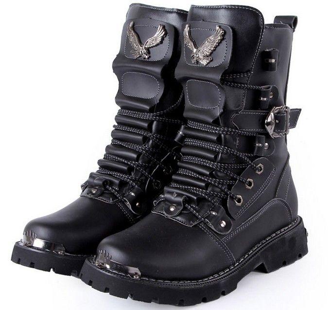 Bota de couro masculino para motoqueiro ou militar cor preta Cod 0298