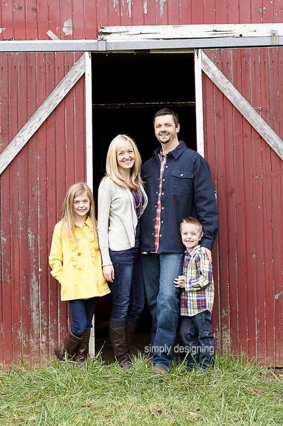 Family Photo Standing in Barn Doorway