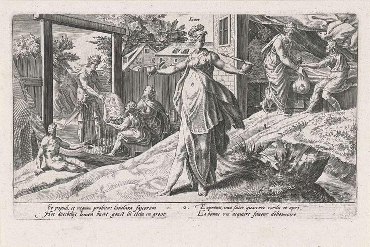 Dirck Volckertsz Coornhert | Van hoog tot laag wordt de mens beloond voor zijn deugdzaamheid, Dirck Volckertsz Coornhert, Adriaan de Weerdt, Hendrick Hondius (I), 1604 | De personificatie van Gunst (Favor) beloont ieder deugdzaam mens. In haar handen een hart met een schep (liefde voor de arbeider) en een hart met een scepter (liefde voor de heerser). In de achtergrond wordt de man die zieken bezoekt beloond met een zak geld, terwijl de mandenwevers beloond worden door de koning met…