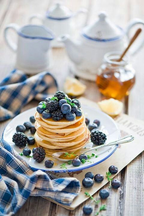 Pancake stack w/ berries ..