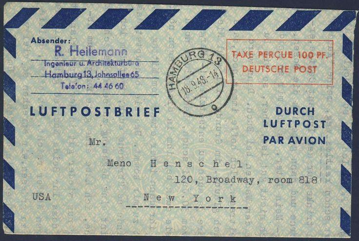 Germany, Bizone, Bizone 1948, 100 Pfg.-GA-Luftpost-Leichtbrief von Hamburg, vom 18.9.1948, nach New York gelaufen (Mi.-Nr.LF1II/Mi.EUR 100,--). Price Estimate (8/2016): 25 EUR.