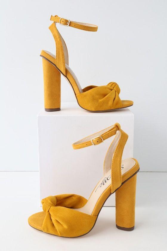 93c9396064b Nessa Mustard Yellow Suede Ankle Strap Heels in 2019