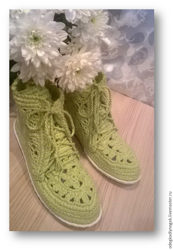 Купить Ажурные ботиночки - салатовый, обувь ручной работы, обувь на заказ, обувь крючком