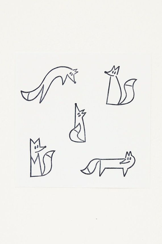 Playful fox stamps set Cute fox birthday gift Wood…